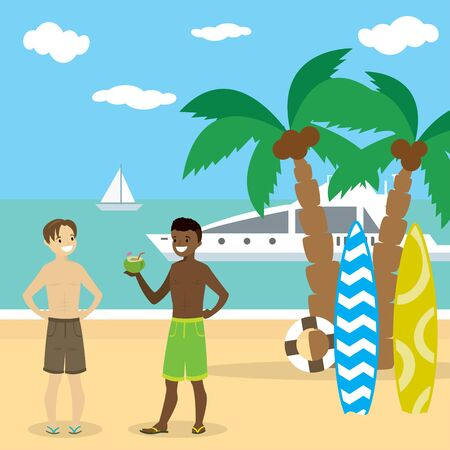 Cartoon caucasian and african american teenager boys in swimsuit