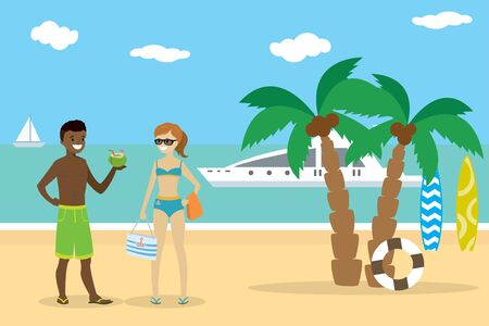 Cartoon couple teenagers on the beach,african american boy and e