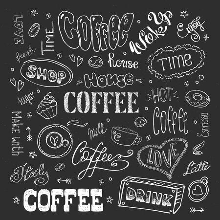 Big coffee set,hand drawn design on blackboard Vecteurs