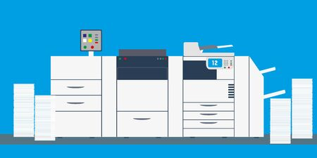 office professional multi function printer and scanner,copy machine or photocopier with paper stacks,flat vector illustration 向量圖像