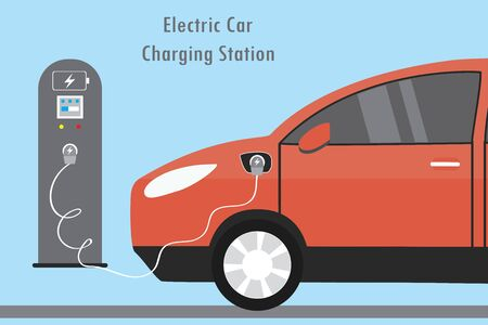 Modern Red Electric Car and Charging Station,flat vector illuatration