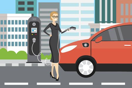 Beauty caucasian businesswoman charging an electric vehicle from a charging station.Flat vector illustration