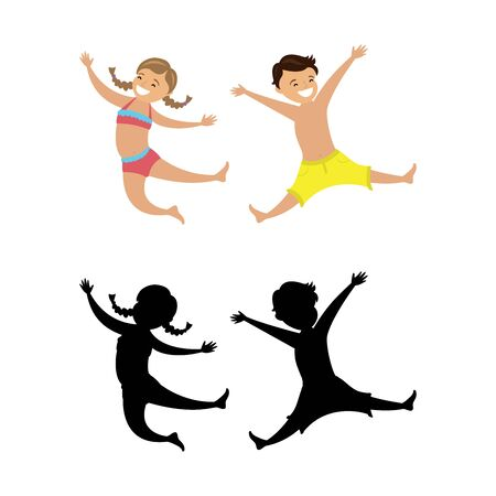 Jumping children in swimsuits and silhouettes,isolated on white