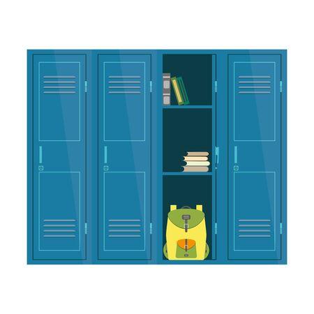 Cartoon School Lockers,one door open,student furniture isolated on white background, flat vector illustration
