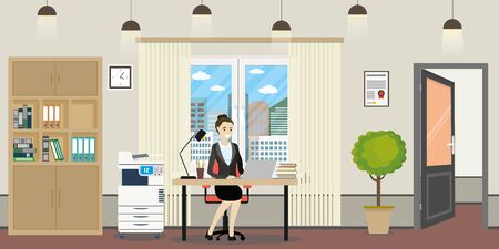 Modern office room and caucasian businesswoman or female office Ilustracje wektorowe
