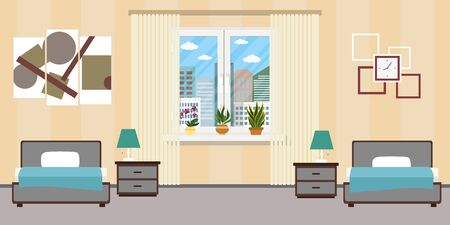 Hotel room or Bedroom Interior flat design.Home furniture.