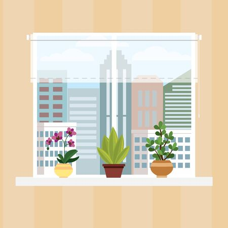 Wall of room with window,curtain and pots with flowers,cartoon vector illustration. Vetores