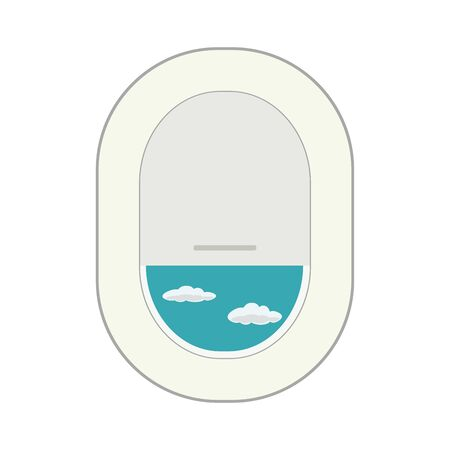 Design template with aircraft porthole,flat vector illustration Vectores