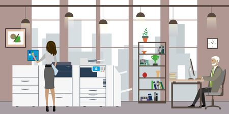 Business people in modern office or creative studio,Cartoon office manager in the workplace and woman print on multifunction printer and scanner,flat vector illustration.