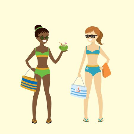 Cartoon caucasian and african american girls in swimsuits,isolated on white bakground,flat vector illustration
