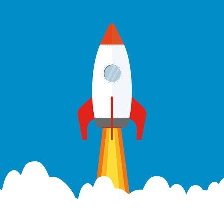Fusée de dessin animé volant dans le ciel, illustration vectorielle plane