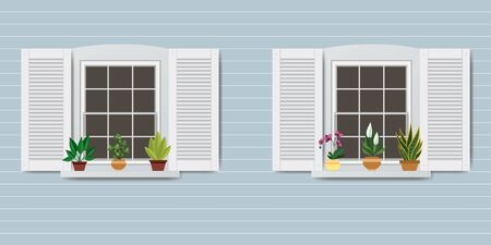 Wall,Windows and pots with flowers,flat vector illustration