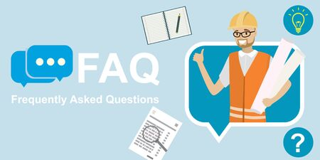 Architect or engineer in speech bubble,faq concept template,cartoon smiling male,flat vector illustration