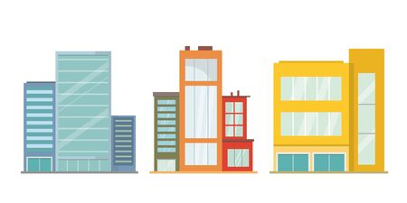 Set of houses, skyscrapers and office buildings,isolated on white background,flat vector illustration Ilustração