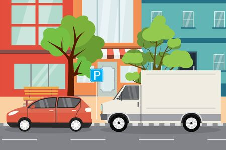 town parking place,empty city street, flat vector illustration