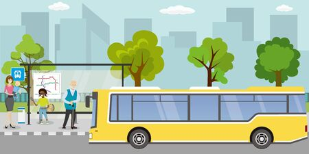public transport stop,Different people are at the bus stop,urban life concept,outdoor flat vector illustration Illustration