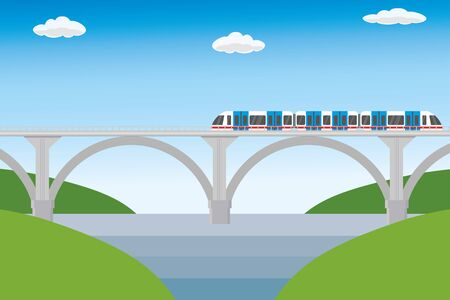 Modern railroad bridge and train,flat vector illustration Illusztráció