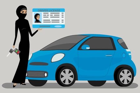 arabic woman with Driving license and car key,muslim female and modern blue car,flat vector illustration