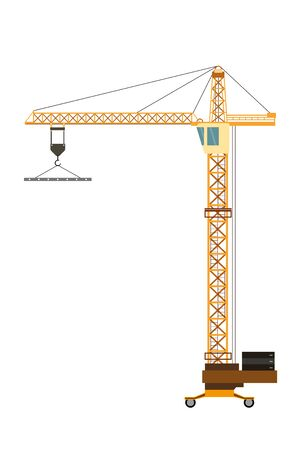 Construction crane isolated on white background,flat vector illustration