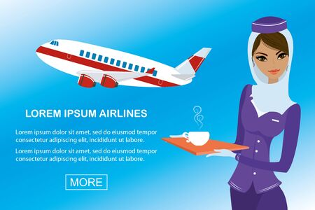 Young beautiful arabic air hostess and airplane,banner template Illustration