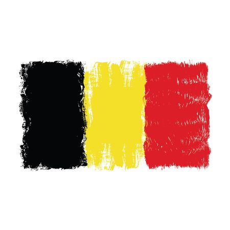 Flag of Belgium,hand drawn watercolor design,isolated on white background,vector illustration