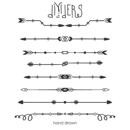 Set of Tribal dividers,dividers line in doodle style,isolated on white background,vector illustration