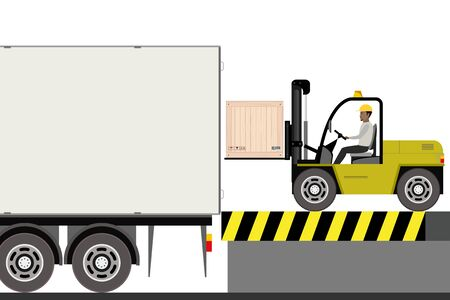 African american warehouse worker loading wooden boxes in long truck. Forklift driver at work in storehouse,flat vector illustration. Ilustracja