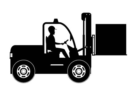 Silhouette of  African american warehouse worker loading wooden boxes. Forklift driver at work. Warehouse worker in flat style isolated on white background,vector illustration Ilustracja
