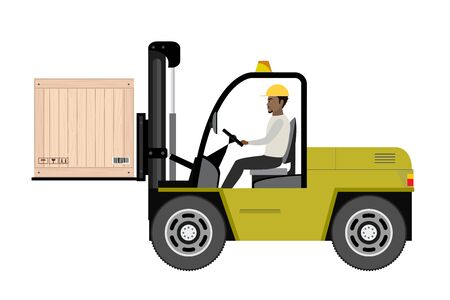 African american warehouse worker loading wooden boxes. Ilustracja