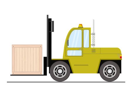 Forklift truck with box - side view,isolated on white background,vector illustration Ilustracja