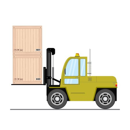 Black and yellow Forklift truck with boxes - side view,isolated on white background,vector illustration