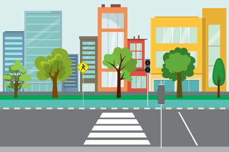 Empty City street,trees and road public,urban life concept,outdoor flat vector illustration Vettoriali