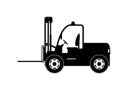 forklift silhouette .isolated on white background, vector illustration