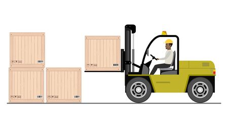 African american warehouse worker loading wooden boxes. Forklift driver at work in storehouse. Warehouse worker in flat style isolated on white background,vector illustration.