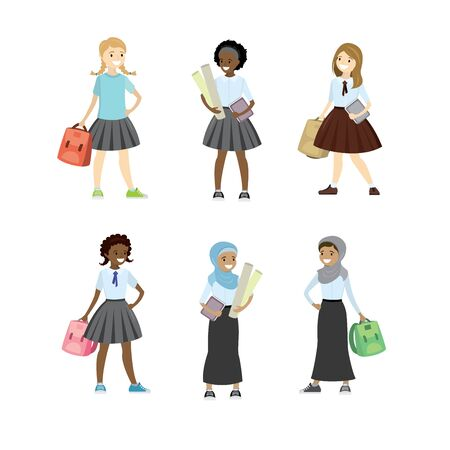 Set of schoolgirls of different nations,isolated on white backgr
