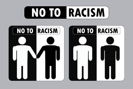 No to racism banner, black and white signs or icon,racism - one of Major Social Problem in world,vector illustration