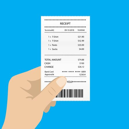 Hand holding white blank receipt,isolated on blue background,vector illustration