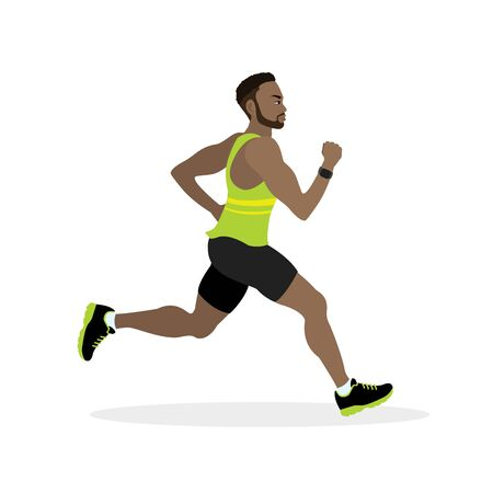 Flat design running african american male.Vector illustration for healthy lifestyle, weight loss, health and good habits.