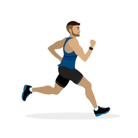 Flat design running caucasian man.Vector illustration for healthy lifestyle, weight loss, health and good habits. Vettoriali