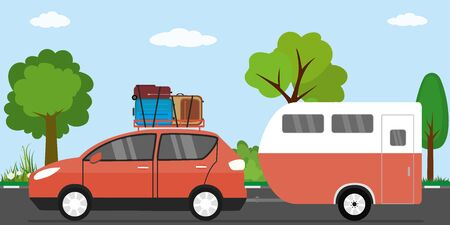Modern red car with luggage on roof and caravan,family vacation transport on road,flat vector illustration