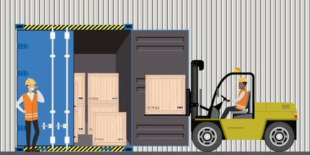 Forklift working with cargo container and product wooden boxes,warehouse employees,flat vector illustration Ilustracja