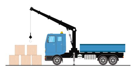 Blue Crane truck with wooden boxes,isolated on white background,flat vector illustration