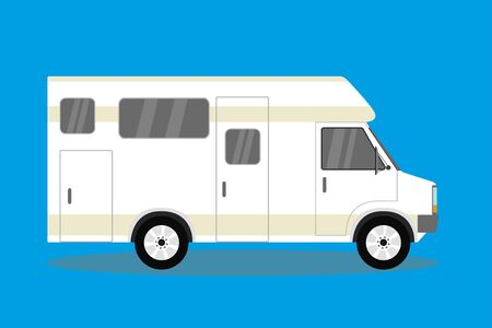 Transport facility - caravan - family car for travel and recreation,flat vector illustration