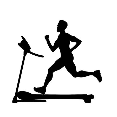silhouette of male runner on a treadmill Vettoriali