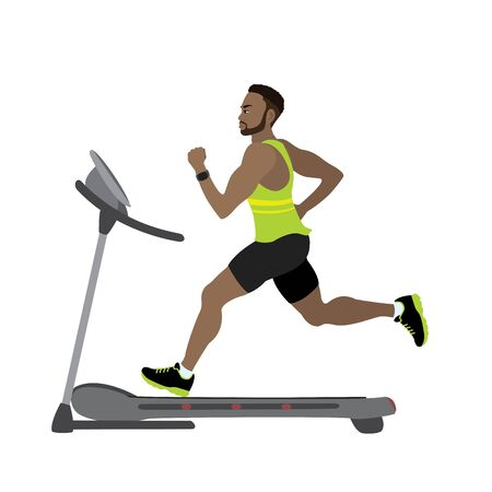 Cartoon male runner on a treadmill,fitness and jogging concept Vettoriali