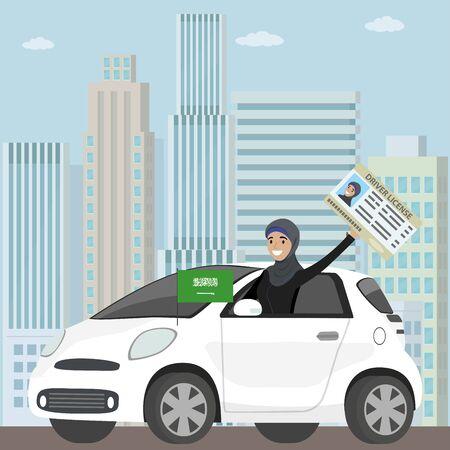 Happy Arab Girl or Saudi woman driving a car, Ilustracja