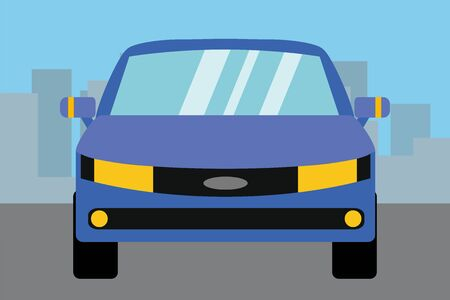 Blue car,front view,flat vector illustration