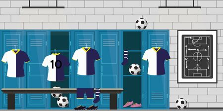 dressing room football,lockers,soccer uniform and balls,open and closed lockers,flat vector illustration