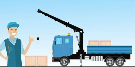 Crane truck and happy worker in uniform,flat vector illustration Illustration