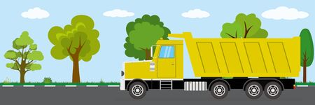 tipper truck on road,nature landscape on background,flat vector illustration